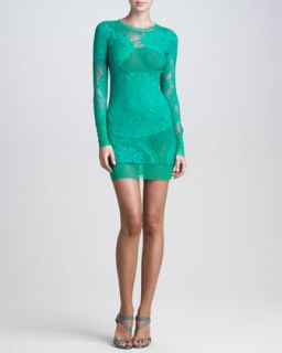 Jean Paul Gaultier Lace Mesh Long Sleeve Dress