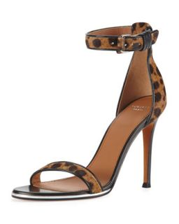 Givenchy Leopard Print Calf Hair Ankle Wrap Sandal
