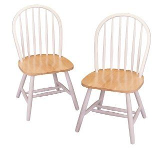 Winsome Wood Windsor Chair in Natural and White Finish, Set of 2   Dining Chairs
