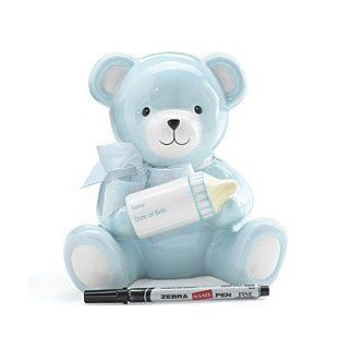 Baby Boy's Blue Bear Piggy Bank Holding Baby Bottle With Birth Information Infant Nursery Decor And Birth Gift   Toy Banks