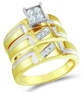 "10K Two Tone Gold Diamond Mens and Ladies His & Hers Trio 3 Three Ring Bridal Matching Engagement Wedding Ring Band Set   Square Princess Shape Center Setting w/ Pave Channel Set Round Diamonds   (.28 cttw)   SEE ""PRODUCT DESCRIPTION"" TO CHOO"