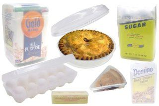 Styrene Stay Fresh Baking Containers contains containers for sugar, flour, brown sugar, dozen eggs, pie butter and pie slice. Containers keep baking goods fresh. Food Savers Kitchen & Dining