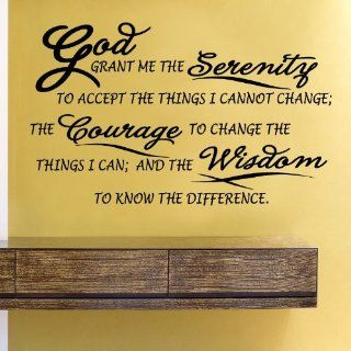 Serenity Prayer God grant me the serenity to accept the things I cannot change; The courage to change the things I can; And the wisdom to know the difference. Vinyl Wall Decals Quotes Sayings Words Art Decor Lettering Vinyl Wall Art Inspirational Uplifting