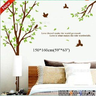Toprate(TM) Super Large 160*155cm Tree and Birds, Quote love doesn't make the world go round, Removable Waterproof Double sided Wallpaper Wall Sticker Decals PVC Vinly Wall Decal For Window Glass Door Room Living Room