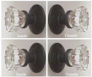 TWO SETS OIL RUBBED BRONZE   Perfect Reproduction of the 1920 Depression Crystal Glass FRENCH DOOR Knob Sets   Each lot contains all the hardware for knobs on both sides of Two French Door.   Cabinet And Furniture Pulls