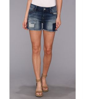 Mavi Jeans Emily Mid Rise Relaxed Short in Used Patch Out Womens Shorts (Blue)
