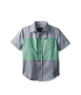 Hurley Kids Blockade S/S Woven Top Boys Short Sleeve Button Up (Gray)