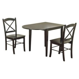 Dinette Set Tiffany Dining Table Set   Black (Set of 3)
