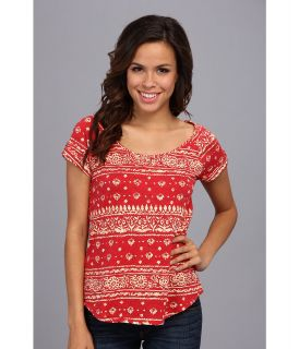 Lucky Brand Bandana Paisley Tee Womens T Shirt (Red)