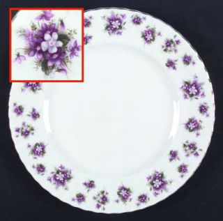 Royal Albert Sweet Violets Dinner Plate, Fine China Dinnerware   Montrose,White,