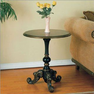 Antique Black Round Pedestal End Table