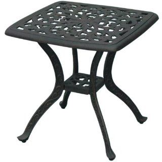 Darlee Series 80 Cast Aluminum Patio End Table   Antique Bronze  Patio Side Tables  Patio, Lawn & Garden