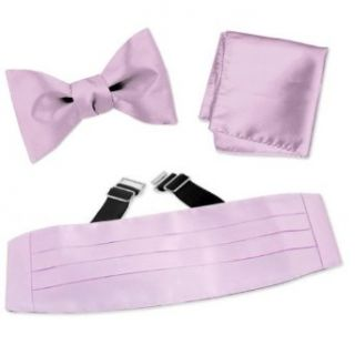 Baby Lilac Freestyle Bow tie Cummerbund Set by Elite Solid   Lilac Silk at  Men�s Clothing store