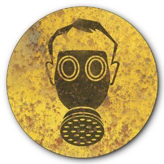 Toxic Fumes Warning Tin Metal Steel Sign, Gas Mask Symbol, Vintage Rusted Design  14 inches diameter [AYY027]   Decorative Signs