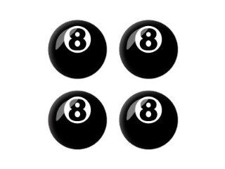 Eight Ball   Pool Billiards   3D Domed Set of 4 Stickers Badges Wheel Center Cap Automotive