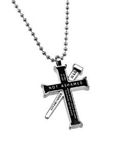 "Christian Mens Black Stainless Steel Abstinence """"Not Ashamed  Of The Gospel Of Christ, For It Is The Power Of God To Everyone That Believeth"" Nail reads ""Established 33 A.D."", and back reads ""Romans 116"". Iron Cross Pur"