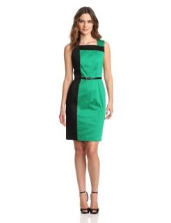 Calvin Klein Women's Sleeveless Colorblock Dress, Grass/Black, 2