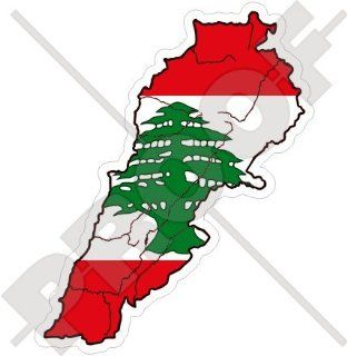 "LEBANON Lebanese Map Flag Libnan, Middle East LUBNAN 4"" (100mm) Vinyl Bumper Sticker, Decal"