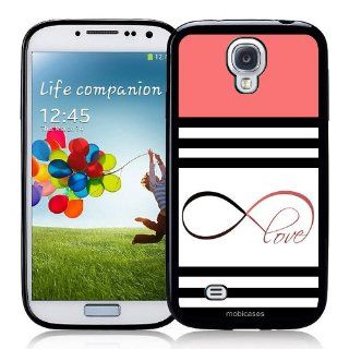 Stripes Pattern   Black, White & Pink with Infinity Love   Protective Designer BLACK Case   Fits Samsung Galaxy S4 i9500 Cell Phones & Accessories