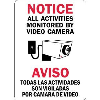 "SmartSign 3M Engineer Grade Reflective Label, Legend ""Notice All Activities Monitored By Video Camera"", Bilingual Sign with Graphic, 14"" high x 10"" wide, Black/Red on White Industrial Warning Signs"