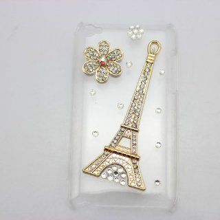 bling 3D clear case eiffel tower flower gold diamond rhinestone crystal hard Case cover for apple ipod touch 4 gen 4g 4th   Players & Accessories