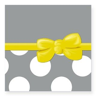 Polka Dots, Ribbon and Bow, Yellow White Gray Stic by sitnichica