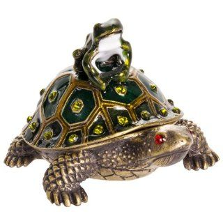 Welforth Turtle with Frog Jewelry Box w/ Crystals Jewelry