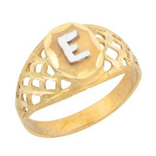 14k Two Tone Gold Diamond Cut Filigree Design Letter E Initial Ring Jewelry