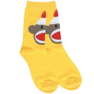 Sock Monkey Crew Yellow Crew Socks