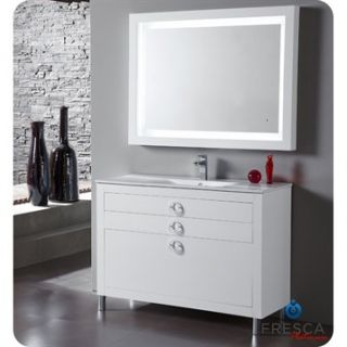 Fresca Platinum Due 48 Glossy White Modern Bathroom Vanity