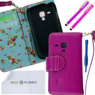 Samsung Galaxy S3 Mini Case Bundle including 1 Genuine Leather Wallet Cover with Floral Interior for Samsung Galaxy S3 Mini I8190 / 1 Lanyard / 2 Stylus Pens / 1 Case Opening Tool / 1 ECO FUSED Microfiber Cleaning Cloth (Purple/Blue Interior) Cell Phones