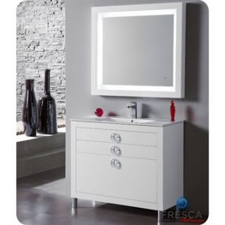 Fresca Platinum Due 40 Glossy White Modern Bathroom Vanity