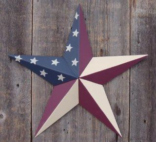 53 Inch Heavy Duty Metal Barn Star Painted Solid Olde Glory. The Colors in the Olde Glory (American Flag) Theme Are Burgundy, Beige, and Whale Blue. The Solid Paint Coverage Gives the Star a Clean and Crisp Appearance. This Tin Barn Star Measures Approxima