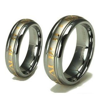 Tungsten Carbide His (8mm) & Hers (6mm) 18k Gold Roman Numeral Wedding Ring Band Set; (14) (4) Jewelry