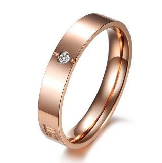 JewelryWe New Couples Rings His Black or Hers Rose Gold Color Stainless Steel Roman Numerals Engraved Promise Ring Engagement Wedding Bands (Rose Gold Color) Jewelry