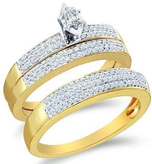 "14k White and Yellow Two Tone Gold Mens and Ladies Couple His & Hers Trio 3 Three Ring Bridal Matching Engagement Wedding Ring Band Set   Marquise and Round Diamonds   Solitaire Center Setting w/ Channel Set Side Stones (1/2 cttw) SEE ""PRODUCT DES"