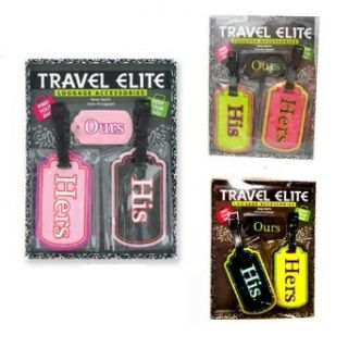 His Hers Elite Luggage Tags Travel Bag Keychain Id Baggage Backpack Badge Holder Clothing