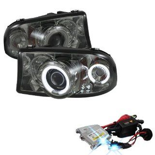 High Performance Xenon HID Dodge Dakota / Durango 1PC CCFL LED ( Replaceable LEDs ) Projector Headlights with Premium Ballast   Smoke with 10000K Deep Blue HID Automotive