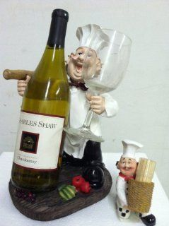 Wine and glass fat Italian chef holder + matching toothpick holder   Home Decor Accents