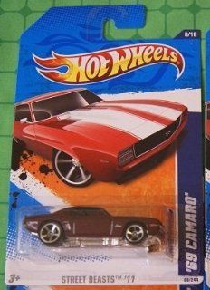 2011 Hot Wheels 88/244   Street Beasts 8/10   '69 Camaro (Metallic Burgundy Red) Toys & Games