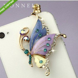 ip242 Cute Purple Butterfly Iphone 4 4s 3gs Android 3.5mm Ear Cap Anti Dust Plug Charm Cell Phones & Accessories
