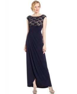 Betsy & Adam Dress, Cap Sleeve Beaded Sequin Lace Gown   Dresses   Women