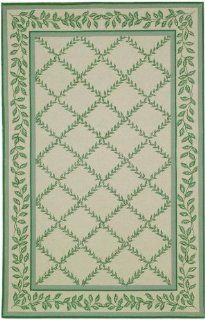 Safavieh Chelsea Collection HK230B Hand Hooked Ivory and Light Green Wool Oval Area Rug, 7 Feet 6 Inch by 9 Feet 6 Inch