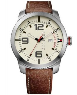 Tommy Hilfiger Mens Brown Leather Strap Watch 46mm 1791004   Watches   Jewelry & Watches