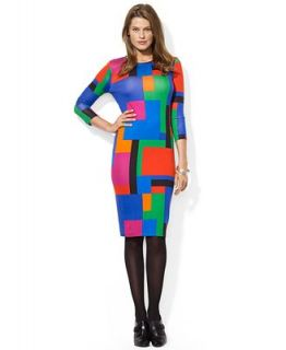 Lauren Ralph Lauren Petite Three Quarter Sleeve Geometric Print Dress   Dresses   Women