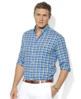 Polo Ralph Lauren Big and Tall Shirt, Long Sleeve Plaid Silk Linen Workshirt   Casual Button Down Shirts   Men
