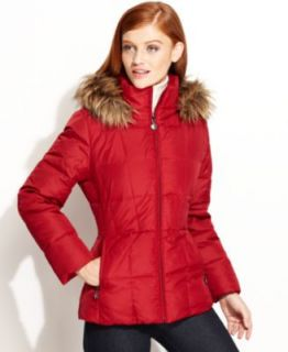 DKNY Hooded Faux Fur Trim Quilted Puffer Coat   Coats   Women