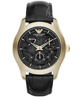Emporio Armani Mens Automatic Meccanico Black Leather Strap Watch 43mm AR4674   Watches   Jewelry & Watches