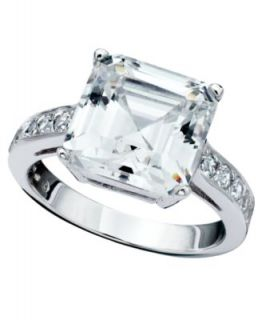 CRISLU Ring, Platinum Over Sterling Silver Three Stone Cubic Zirconia Ring (4 ct. t.w.)   Fashion Jewelry   Jewelry & Watches