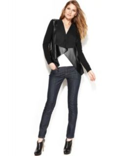 MICHAEL Michael Kors Faux Leather Moto Jacket, Sleeveless Cowl Neck Top & Skinny Jeans   Women